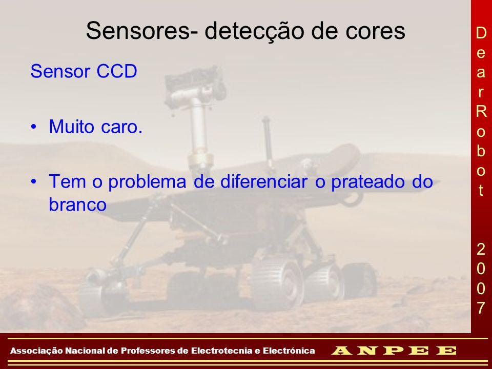 DearRobot 2007DearRobot 2007 Associação Nacional de Professores de Electrotecnia e Electrónica Sensores- detecção de cores Sensor CCD Muito caro. Tem