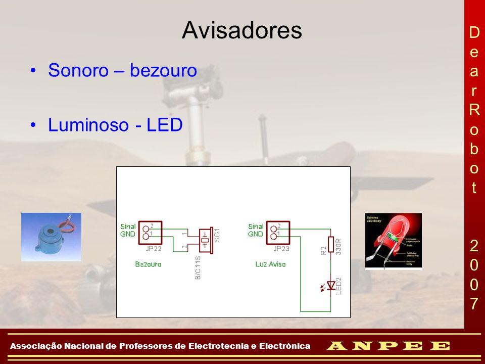 DearRobot 2007DearRobot 2007 Associação Nacional de Professores de Electrotecnia e Electrónica Avisadores Sonoro – bezouro Luminoso - LED