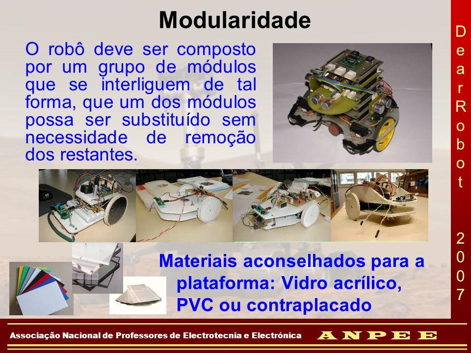 DearRobot 2007DearRobot 2007 Associação Nacional de Professores de Electrotecnia e Electrónica Modularidade Materiais aconselhados para a plataforma: