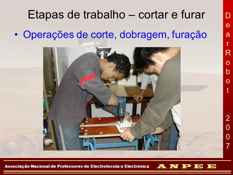 DearRobot 2007DearRobot 2007 Associação Nacional de Professores de Electrotecnia e Electrónica Etapas de trabalho – cortar e furar Operações de corte,