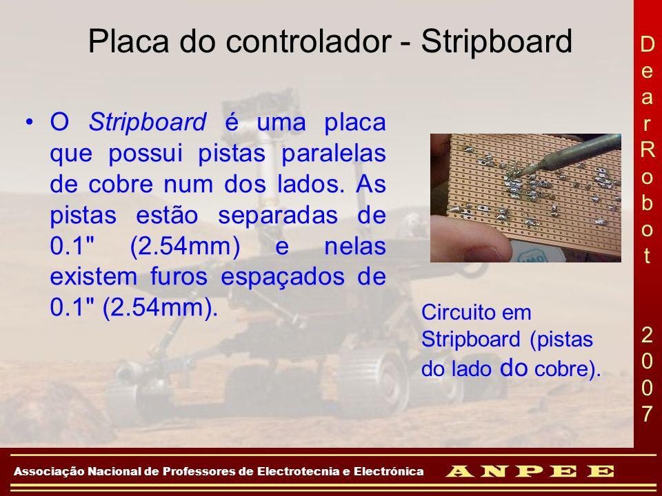 DearRobot 2007DearRobot 2007 Associação Nacional de Professores de Electrotecnia e Electrónica Placa do controlador - Stripboard O Stripboard é uma pl