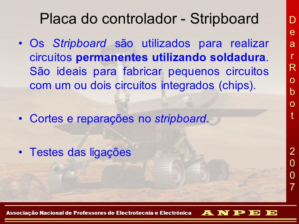 DearRobot 2007DearRobot 2007 Associação Nacional de Professores de Electrotecnia e Electrónica Placa do controlador - Stripboard Os Stripboard são uti