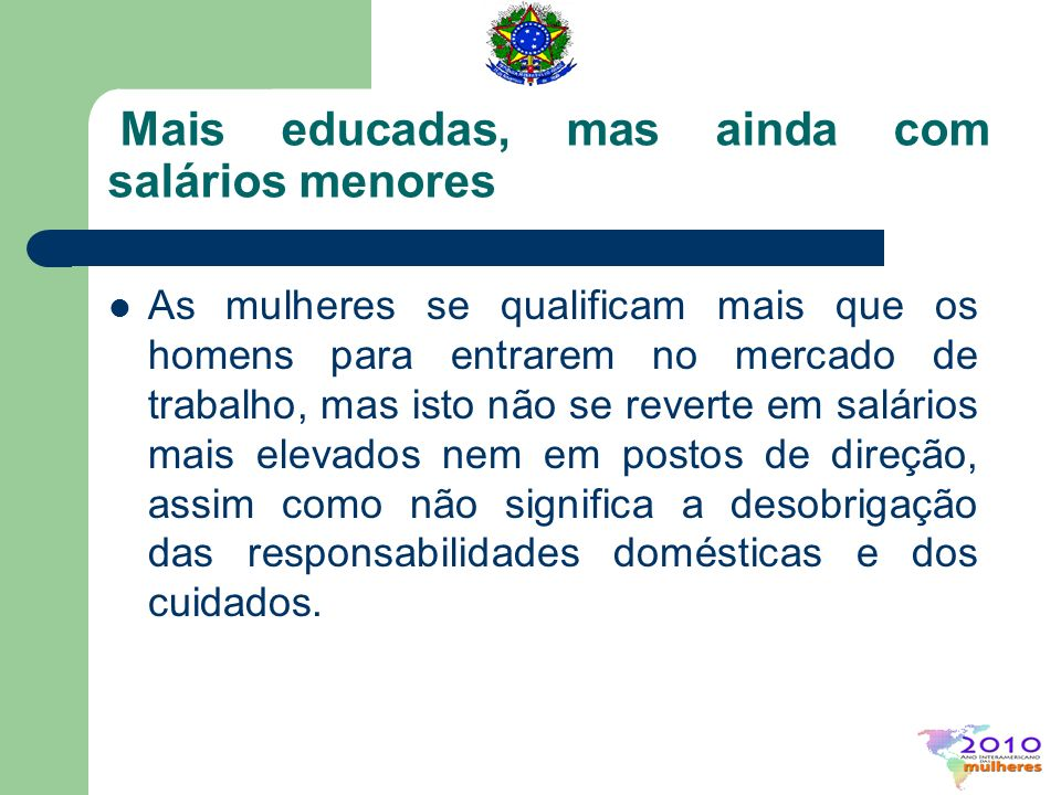 Construindo uma educação igualitária no Brasil: políticas e programas SPM/PR e o II Plano Nacional de Políticas para as Mulheres Educação Inclusiva, Não-Sexista, Não- Racista, Não-Lesbofóbica, Não-Homofóbica