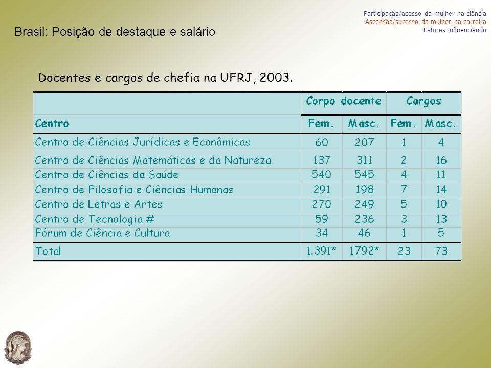 Docentes e cargos de chefia na UFRJ, 2003. Participação/acesso da mulher na ciência Ascensão/sucesso da mulher na carreira Fatores influenciando Brasi