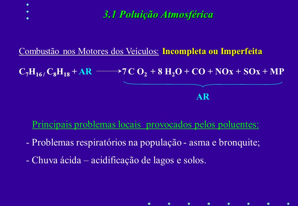 Fonte de Energia Tradicional para Transportes Combustão de Derivados de Petróleo: Gasolina e Óleo Diesel Fundamentos da Combustão a) Combustão do Carb