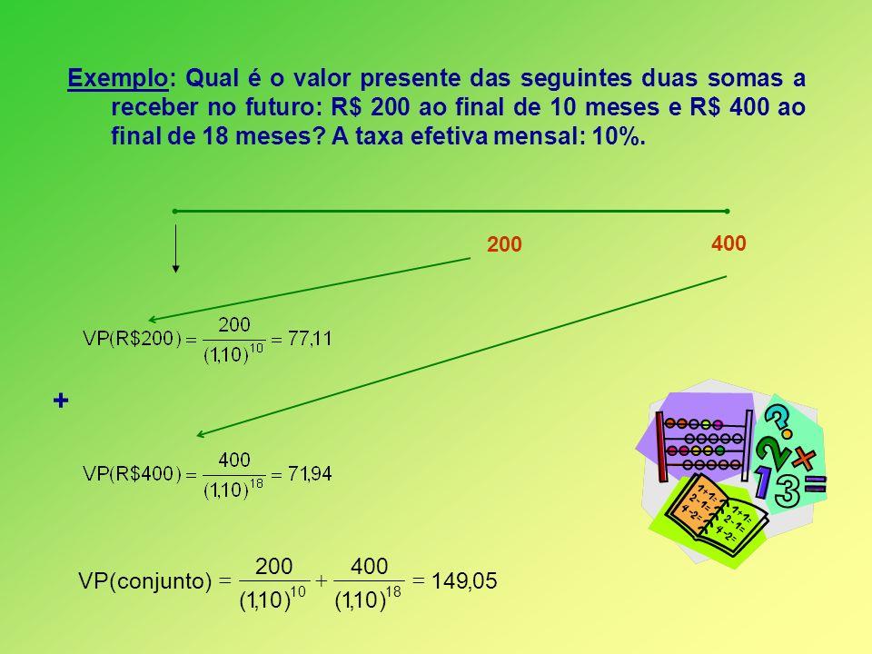 Exemplo: Qual é o valor presente das seguintes duas somas a receber no futuro: R$ 200 ao final de 10 meses e R$ 400 ao final de 18 meses? A taxa efeti
