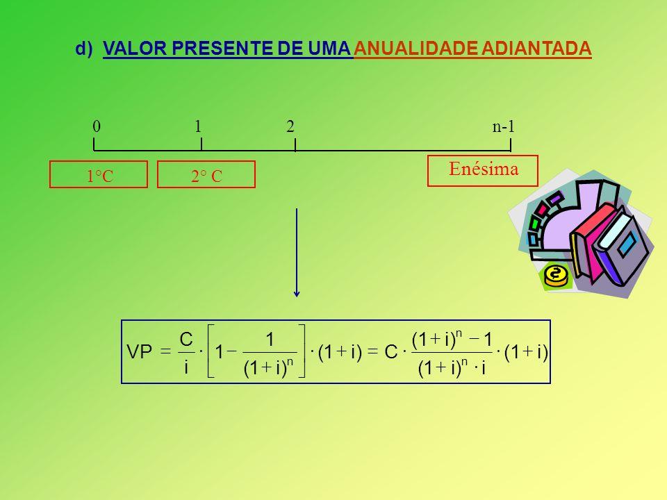d) VALOR PRESENTE DE UMA ANUALIDADE ADIANTADA Enésima 0 1 2 n-1 1°C 2° C )i1( i)i1( 1)i1( C)i1( )i1( 1 1 i C VP n n n