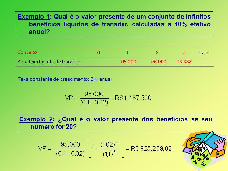 Exemplo 1: Qual é o valor presente de um conjunto de infinitos benefícios líquidos de transitar, calculadas a 10% efetivo anual? Taxa constante de cre