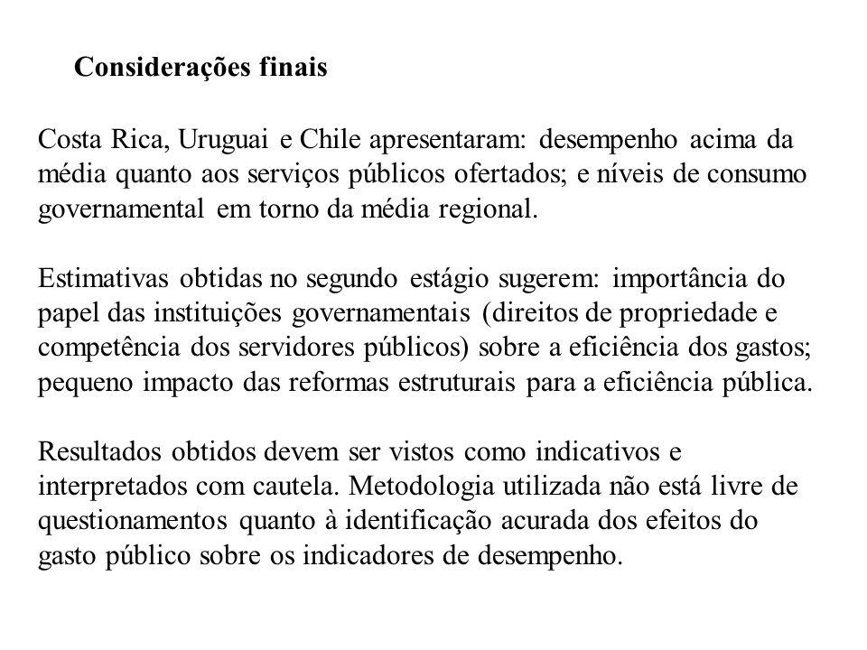 Considerações finais Costa Rica, Uruguai e Chile apresentaram: desempenho acima da média quanto aos serviços públicos ofertados; e níveis de consumo governamental em torno da média regional.