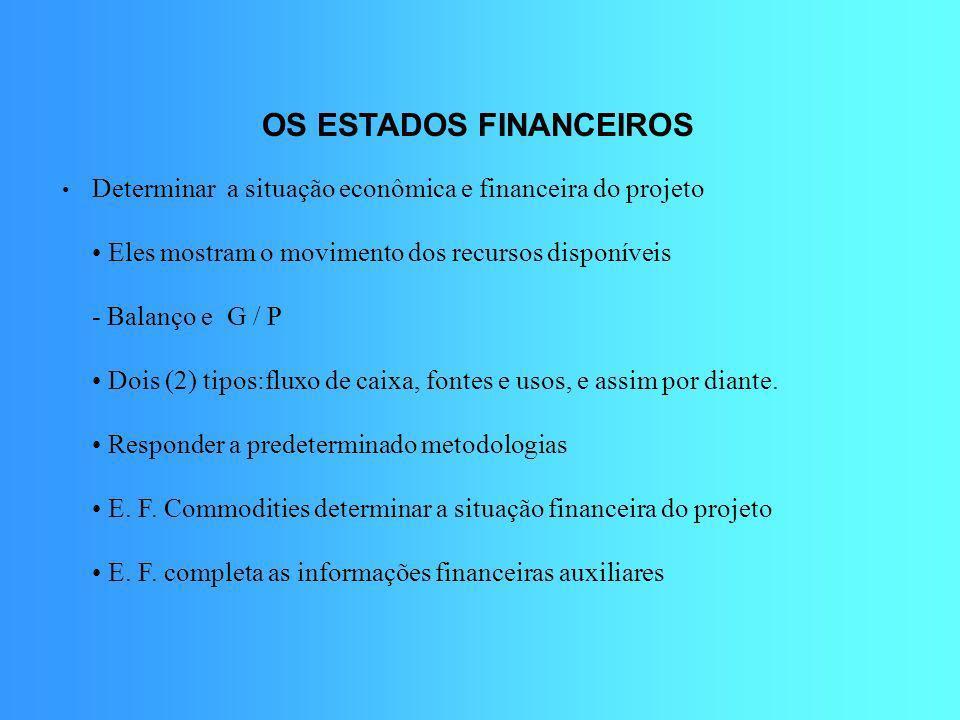 OS ESTADOS FINANCEIROS Determinar a situação econômica e financeira do projeto Eles mostram o movimento dos recursos disponíveis - Balanço e G / P Doi