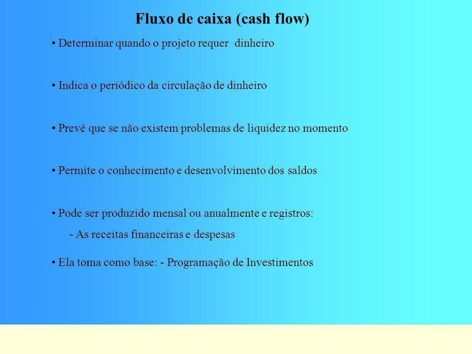 Fluxo de caixa (cash flow) Determinar quando o projeto requer dinheiro Indica o periódico da circulação de dinheiro Prevê que se não existem problemas