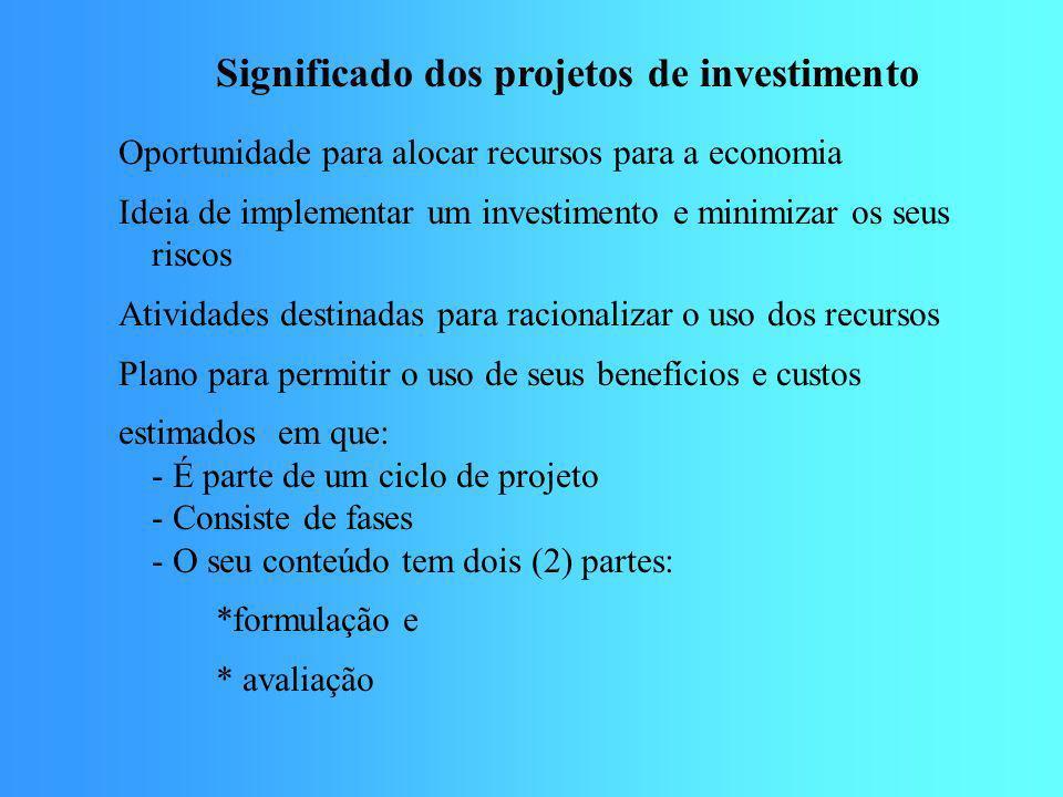 Significado dos projetos de investimento Oportunidade para alocar recursos para a economia Ideia de implementar um investimento e minimizar os seus ri