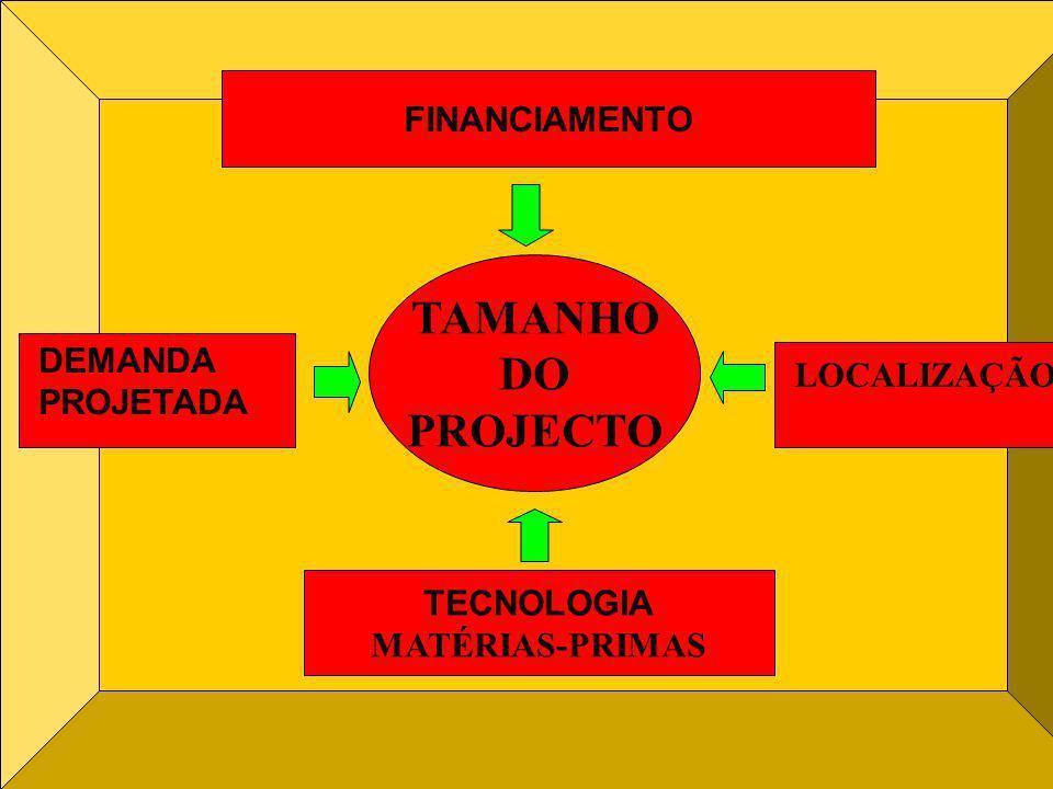 TAMANHO DO PROJECTO FINANCIAMENTO TECNOLOGIA MATÉRIAS-PRIMAS LOCALIZAÇÃO DEMANDA PROJETADA