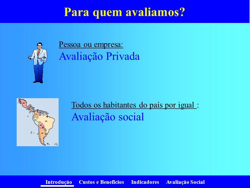 Introdução Custos e Beneficios Indicadores Avaliação Social Para quem avaliamos.