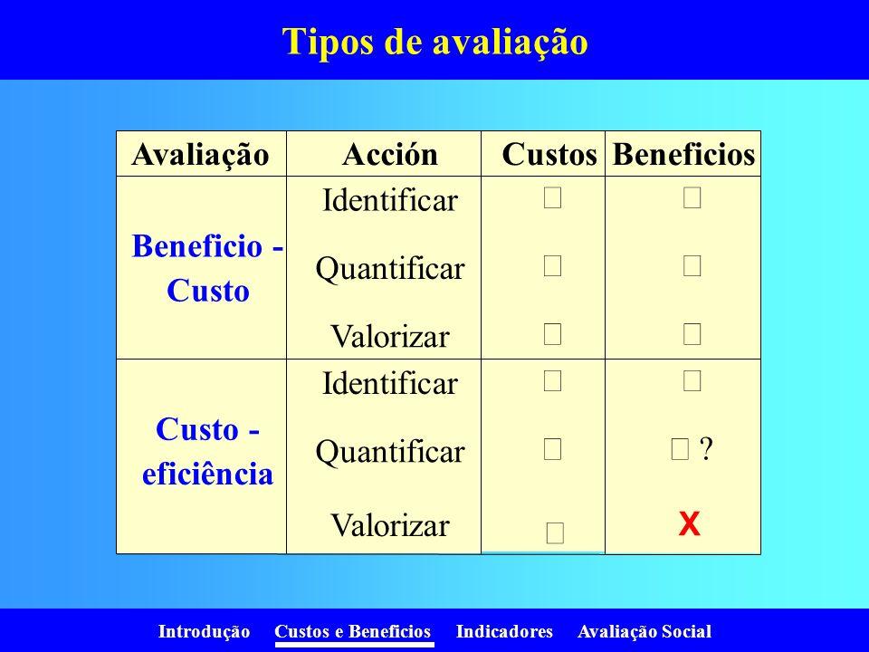 Introdução Custos e Beneficios Indicadores Avaliação Social Tipos de avaliação AvaliaçãoAcciónCustosBeneficios Identificar Beneficio - Custo Quantificar Valorizar Identificar Custo - eficiência Quantificar Valorizar X