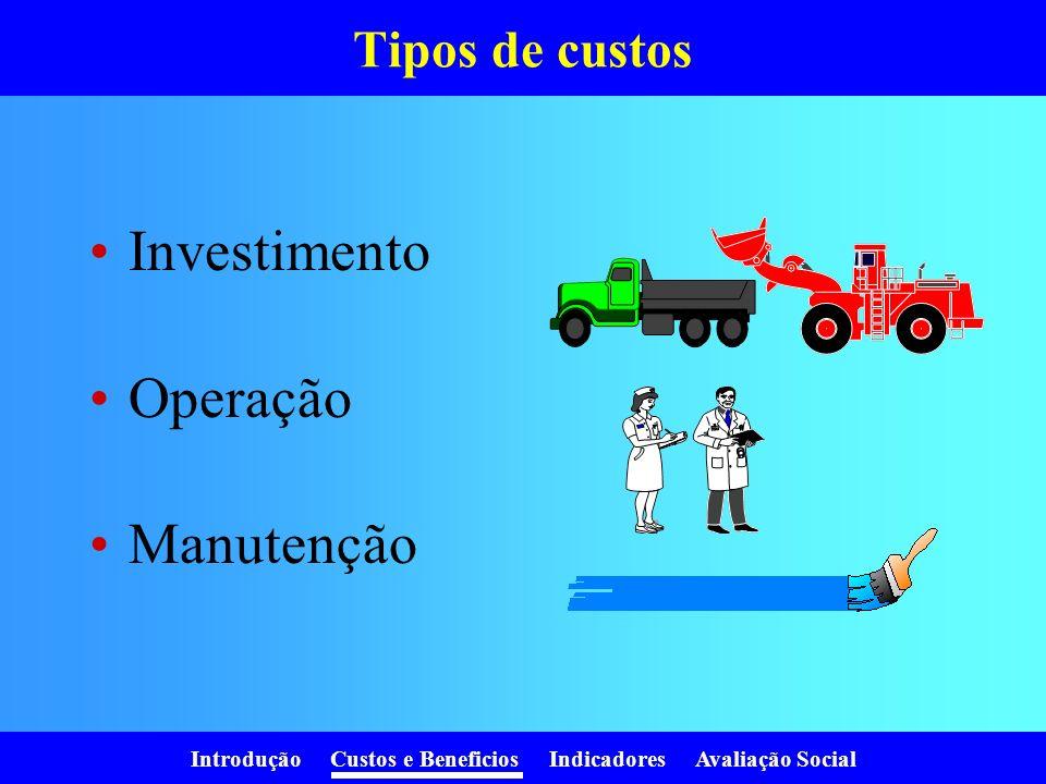 Introdução Custos e Beneficios Indicadores Avaliação Social Tipos de custos Investimento Operação Manutenção