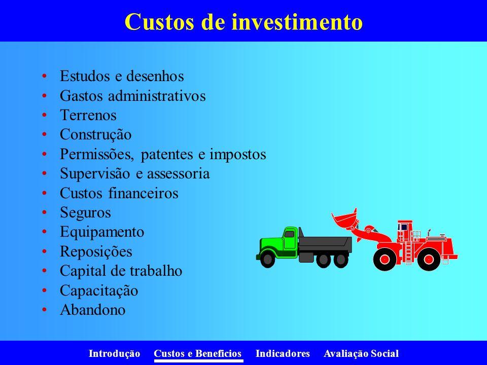 Introdução Custos e Beneficios Indicadores Avaliação Social Valor Atual dos Custos AnoCustos (1+r) i V.A.