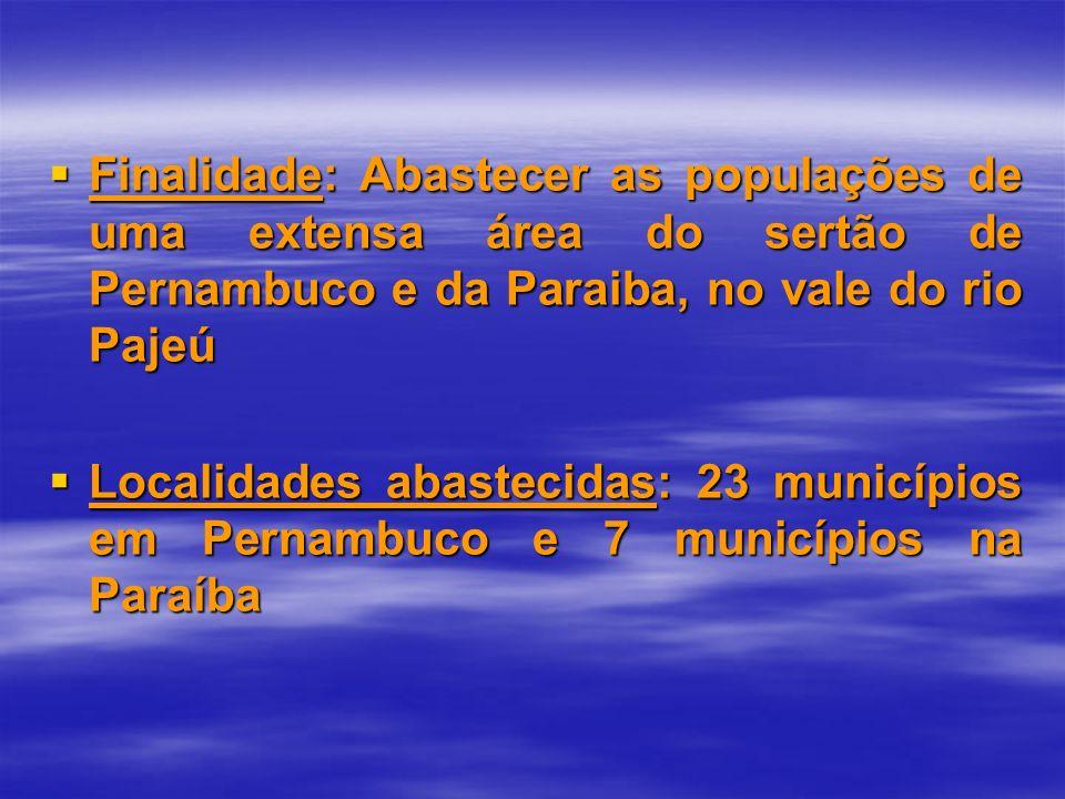 Finalidade: Abastecer as populações de uma extensa área do sertão de Pernambuco e da Paraiba, no vale do rio Pajeú Finalidade: Abastecer as populações