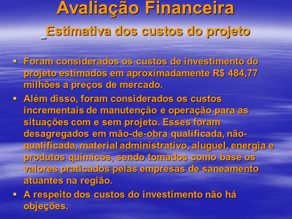 Avaliação Financeira Estimativa dos custos do projeto Foram considerados os custos de investimento do projeto estimados em aproximadamente R$ 484,77 m