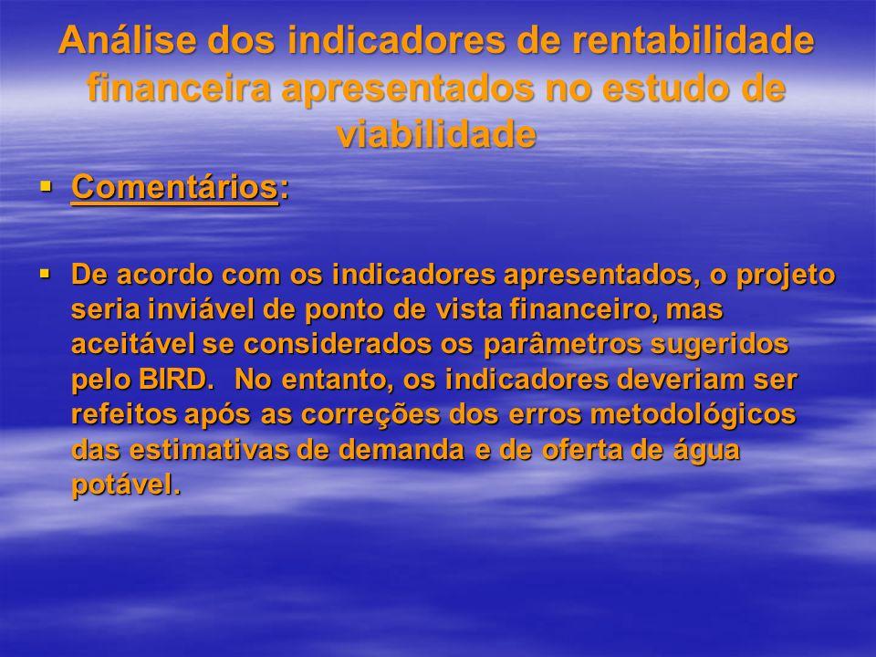 Análise dos indicadores de rentabilidade financeira apresentados no estudo de viabilidade Comentários: Comentários: De acordo com os indicadores apres
