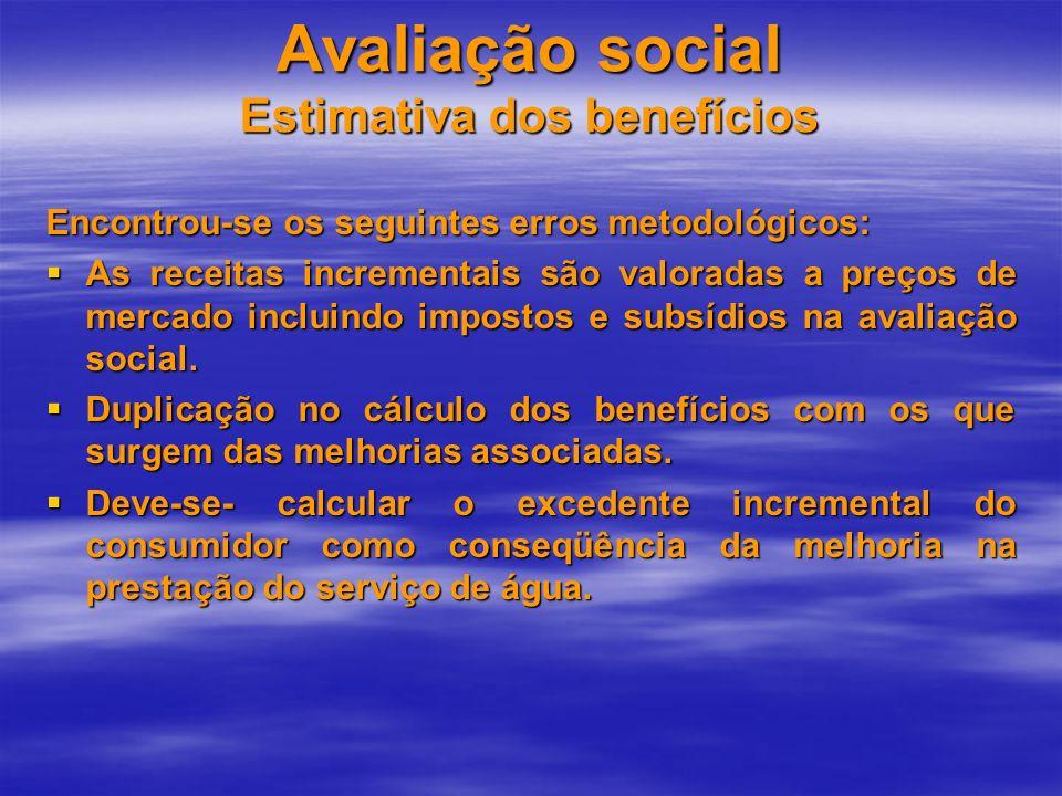 Avaliação social Estimativa dos benefícios Encontrou-se os seguintes erros metodológicos: As receitas incrementais são valoradas a preços de mercado i