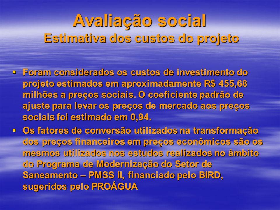 Avaliação social Estimativa dos custos do projeto Foram considerados os custos de investimento do projeto estimados em aproximadamente R$ 455,68 milhõ