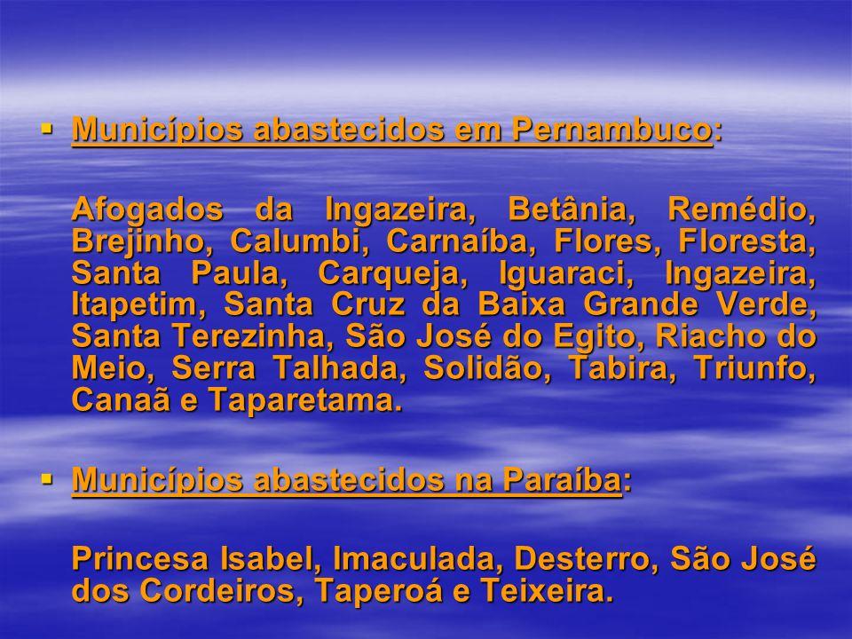 Municípios abastecidos em Pernambuco: Municípios abastecidos em Pernambuco: Afogados da Ingazeira, Betânia, Remédio, Brejinho, Calumbi, Carnaíba, Flor