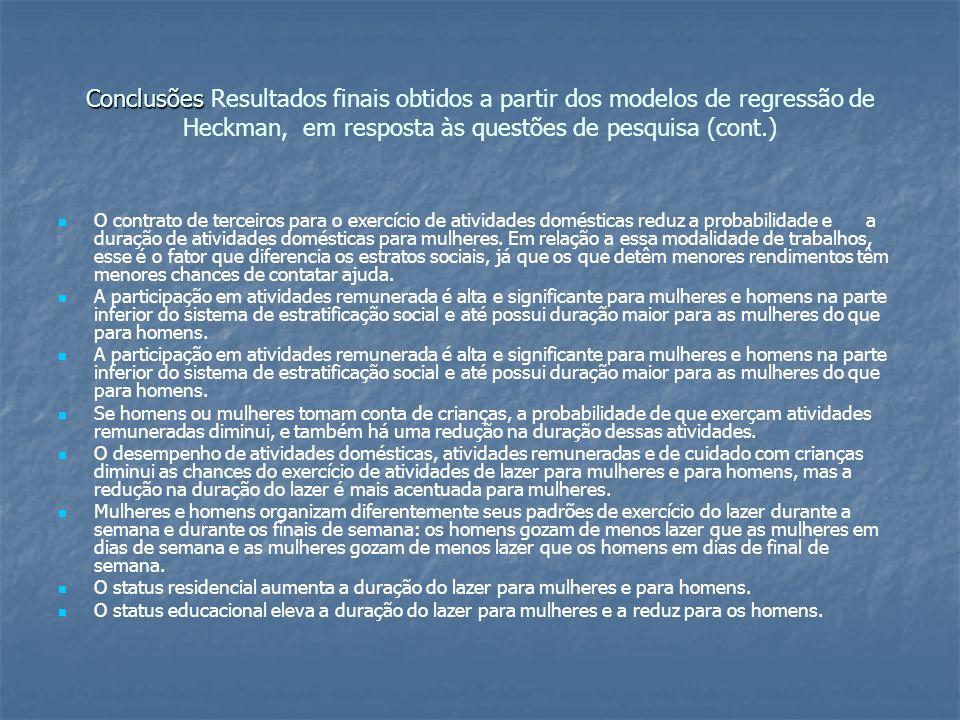 Conclusões Conclusões Resultados finais obtidos a partir dos modelos de regressão de Heckman, em resposta às questões de pesquisa (cont.) O contrato de terceiros para o exercício de atividades domésticas reduz a probabilidade e a duração de atividades domésticas para mulheres.