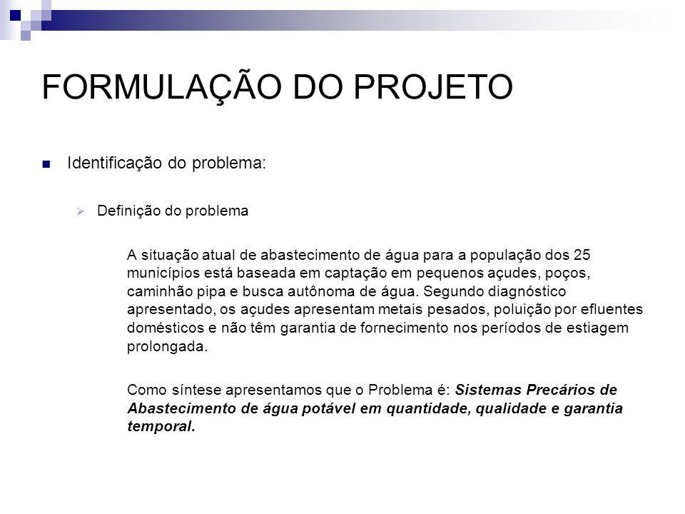 FORMULAÇÃO DO PROJETO Identificação do problema: Definição do problema A situação atual de abastecimento de água para a população dos 25 municípios es