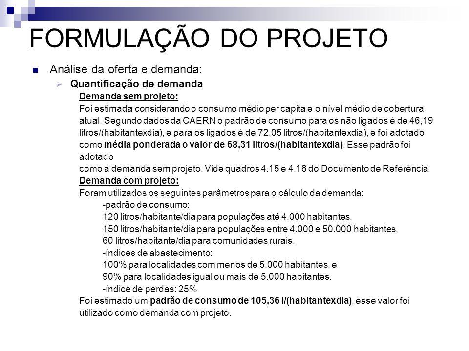 FORMULAÇÃO DO PROJETO Análise da oferta e demanda: Quantificação de demanda Demanda sem projeto: Foi estimada considerando o consumo médio per capita