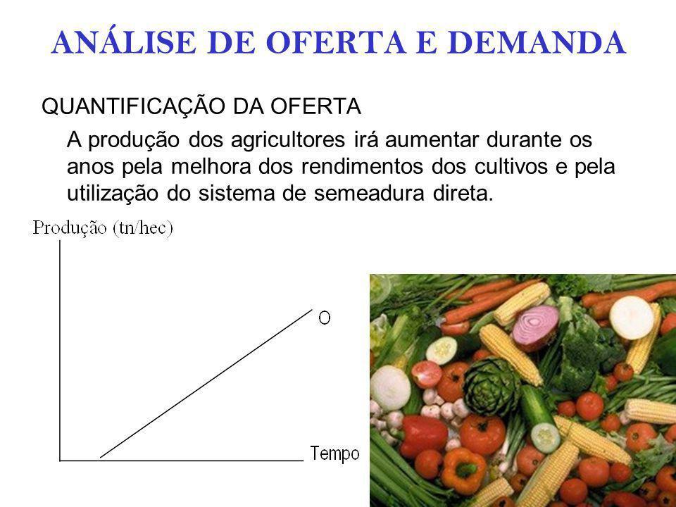 ANÁLISE DE OFERTA E DEMANDA QUANTIFICAÇÃO DA OFERTA A produção dos agricultores irá aumentar durante os anos pela melhora dos rendimentos dos cultivos