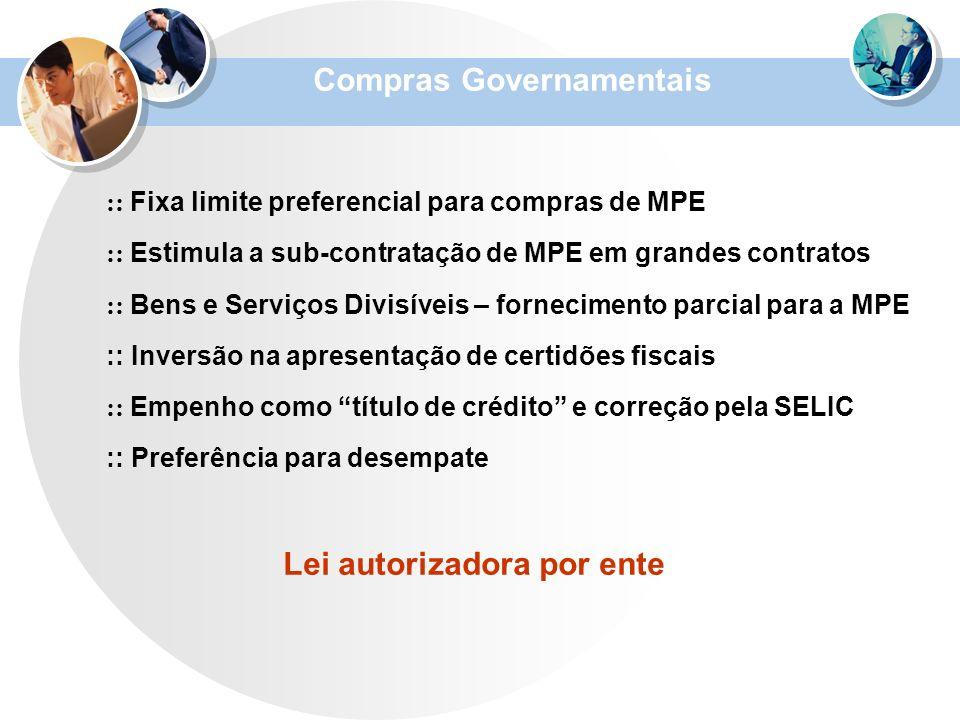 :: Fixa limite preferencial para compras de MPE :: Estimula a sub-contratação de MPE em grandes contratos :: Bens e Serviços Divisíveis – fornecimento