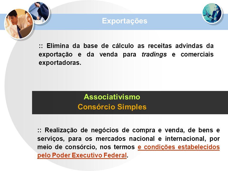 Exportações :: Elimina da base de cálculo as receitas advindas da exportação e da venda para tradings e comerciais exportadoras. Associativismo Consór