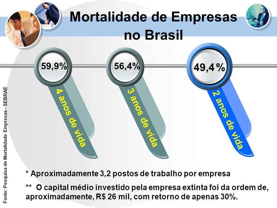 Mortalidade de Empresas no Brasil 49,4 % 4 anos de vida3 anos de vida 2 anos de vida 56,4%59,9% * Aproximadamente 3,2 postos de trabalho por empresa *