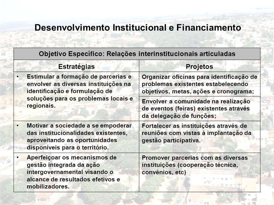Desenvolvimento Institucional e Financiamento Objetivo Específico: Relações interinstitucionais articuladas EstratégiasProjetos Estimular a formação d