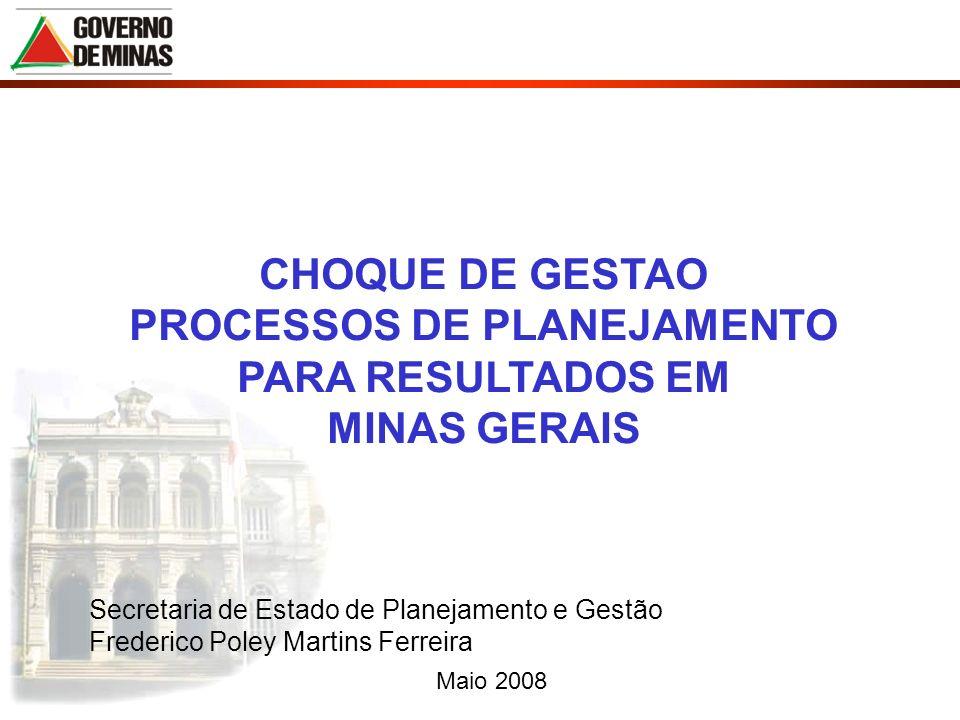 Maio 2008 CHOQUE DE GESTAO PROCESSOS DE PLANEJAMENTO PARA RESULTADOS EM MINAS GERAIS Secretaria de Estado de Planejamento e Gestão Frederico Poley Mar