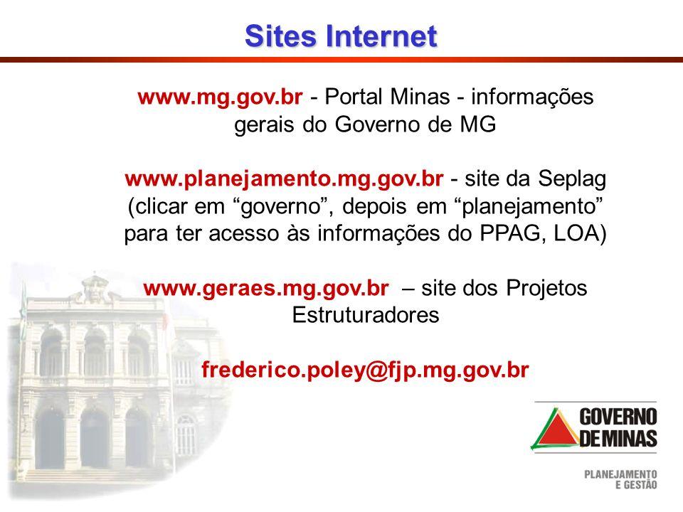 www.mg.gov.br - Portal Minas - informações gerais do Governo de MG www.planejamento.mg.gov.br - site da Seplag (clicar em governo, depois em planejame