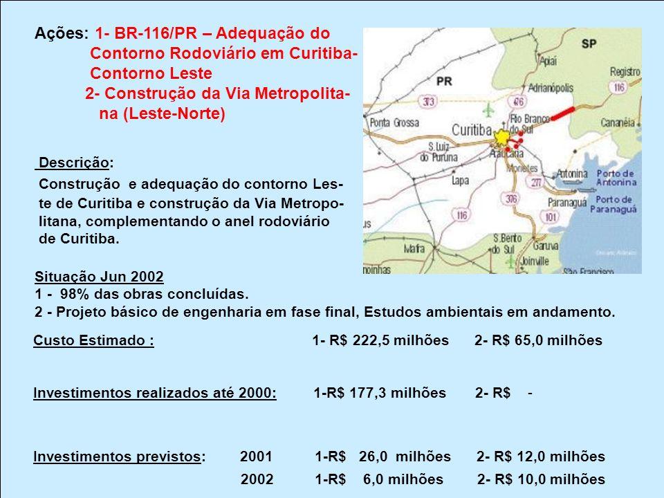 Ações: 1- BR-116/PR – Adequação do Contorno Rodoviário em Curitiba- Contorno Leste 2- Construção da Via Metropolita- na (Leste-Norte) Descrição: Construção e adequação do contorno Les- te de Curitiba e construção da Via Metropo- litana, complementando o anel rodoviário de Curitiba.