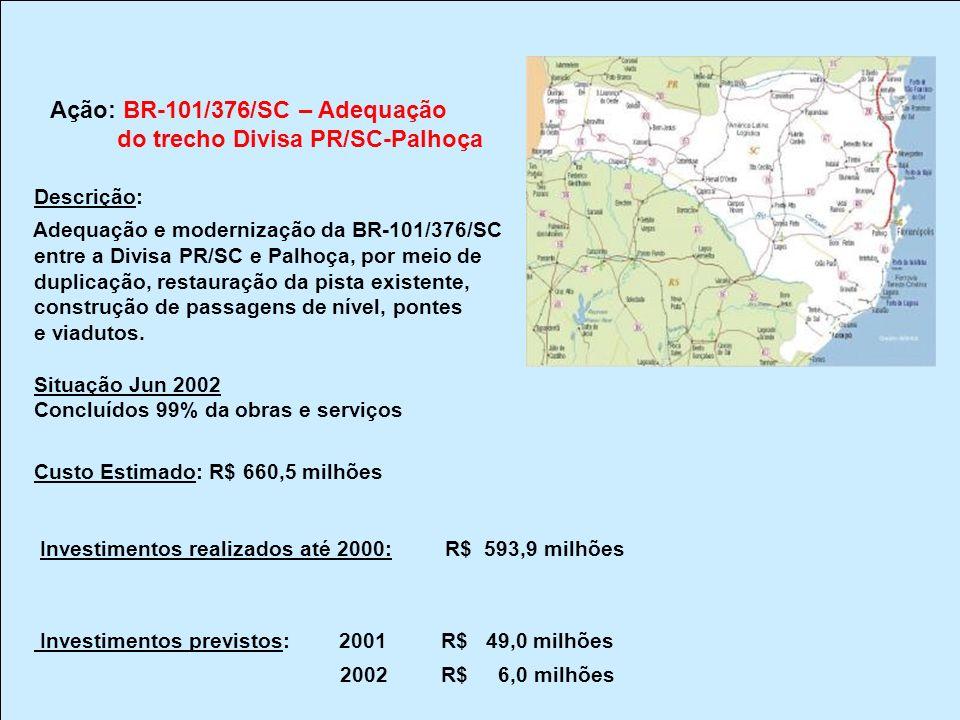 Ação: BR-101/376/SC – Adequação do trecho Divisa PR/SC-Palhoça Descrição: Adequação e modernização da BR-101/376/SC entre a Divisa PR/SC e Palhoça, po