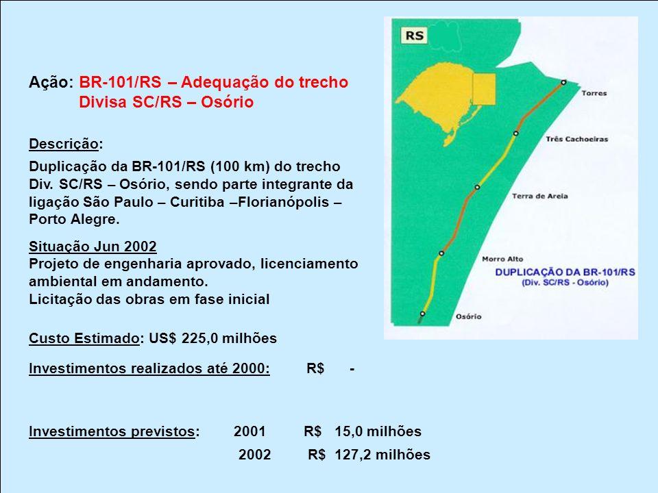 Ação: BR-101/RS – Adequação do trecho Divisa SC/RS – Osório Descrição: Duplicação da BR-101/RS (100 km) do trecho Div. SC/RS – Osório, sendo parte int