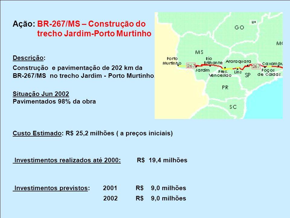 Ação: BR-267/MS – Construção do trecho Jardim-Porto Murtinho Descrição: Construção e pavimentação de 202 km da BR-267/MS no trecho Jardim - Porto Murt