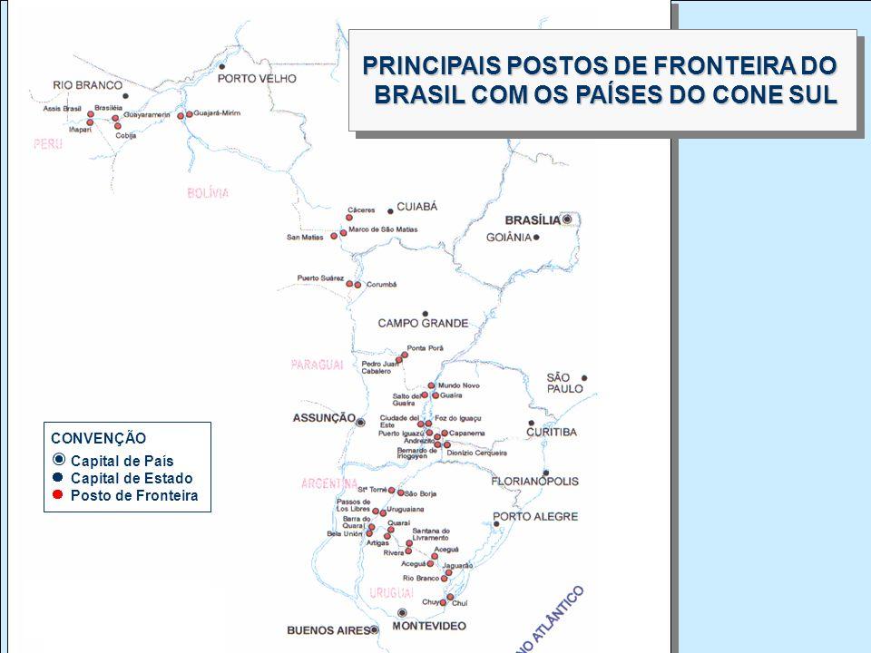 GEIPOT Empresa Brasileira de Planejamento de Transportes CONVENÇÃO Capital de País Capital de Estado Posto de Fronteira PRINCIPAIS POSTOS DE FRONTEIRA
