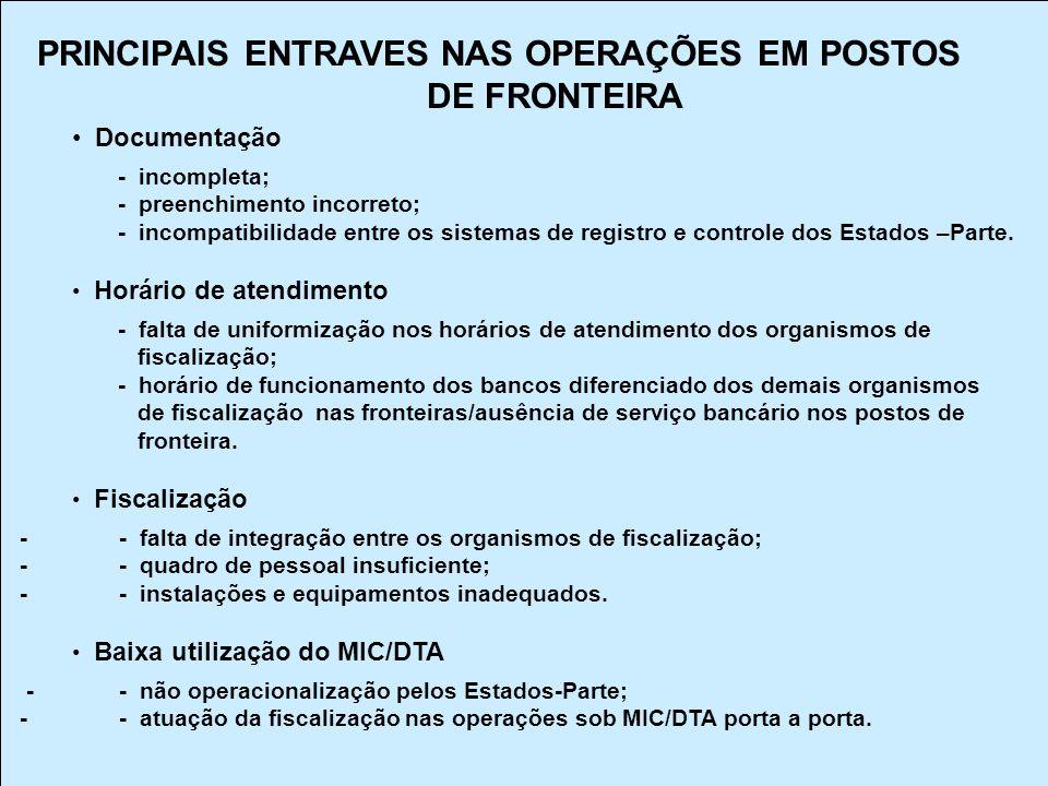 PRINCIPAIS ENTRAVES NAS OPERAÇÕES EM POSTOS DE FRONTEIRA Documentação - incompleta; - preenchimento incorreto; - incompatibilidade entre os sistemas d