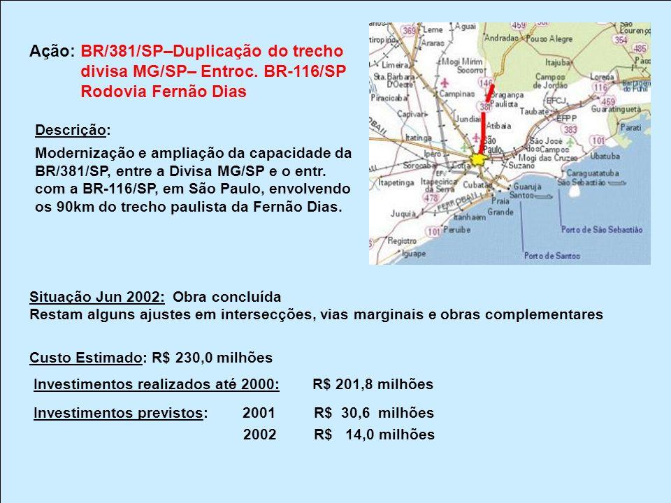 Ação: BR/381/SP–Duplicação do trecho divisa MG/SP– Entroc. BR-116/SP Rodovia Fernão Dias Descrição: Modernização e ampliação da capacidade da BR/381/S