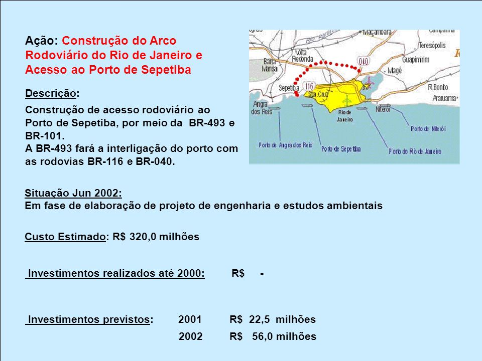 Ação: BR/381/116/SP – Construção do Rodoanel em São Paulo Descrição: Construção do trecho Oeste, com 32km de extensão, dividido em 6 lotes, abrangendo pavimentação, obras-de-arte especiais (48) e construção de túneis (3 duplos).