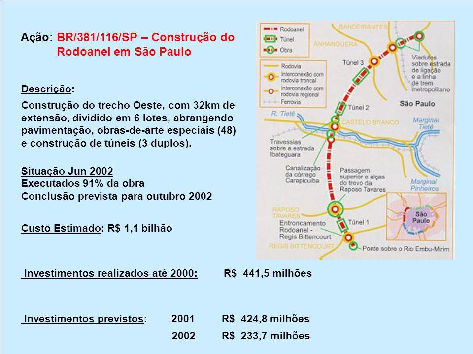 Ação: BR/381/116/SP – Construção do Rodoanel em São Paulo Descrição: Construção do trecho Oeste, com 32km de extensão, dividido em 6 lotes, abrangendo