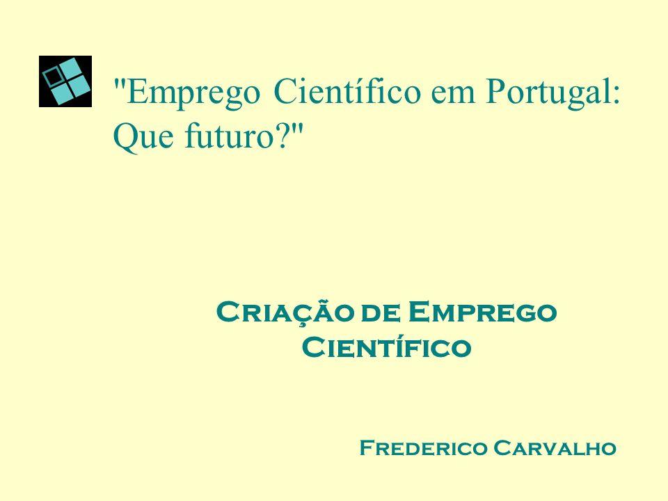 Emprego Científico em Portugal: Que futuro Criação de Emprego Científico Frederico Carvalho