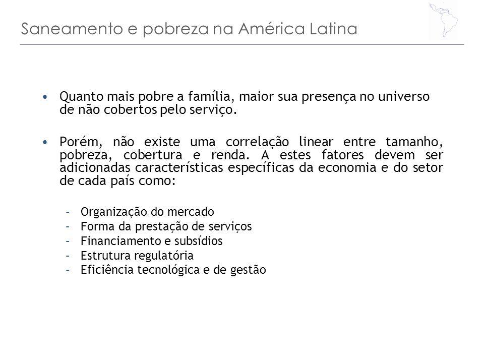 Saneamento e pobreza na América Latina Quanto mais pobre a família, maior sua presença no universo de não cobertos pelo serviço. Porém, não existe uma
