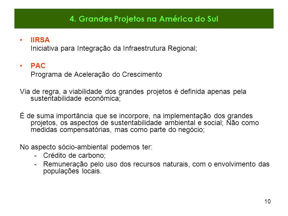 10 IIRSA Iniciativa para Integração da Infraestrutura Regional; PAC Programa de Aceleração do Crescimento Via de regra, a viabilidade dos grandes proj