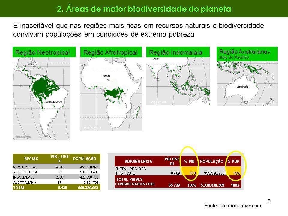 3 2. Áreas de maior biodiversidade do planeta Fonte: site mongabay.com Região Neotropical Região Australiana e ilhas do Pacífico Região IndomalaiaRegi